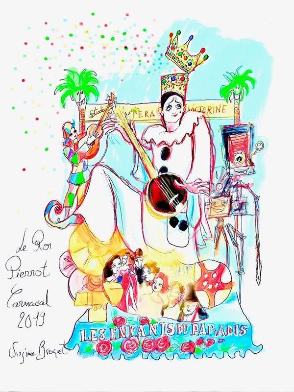 Croquis de Virginie Broquet du char du roi du carnaval 2019 : sa majesté carnaval Roi du cinéma