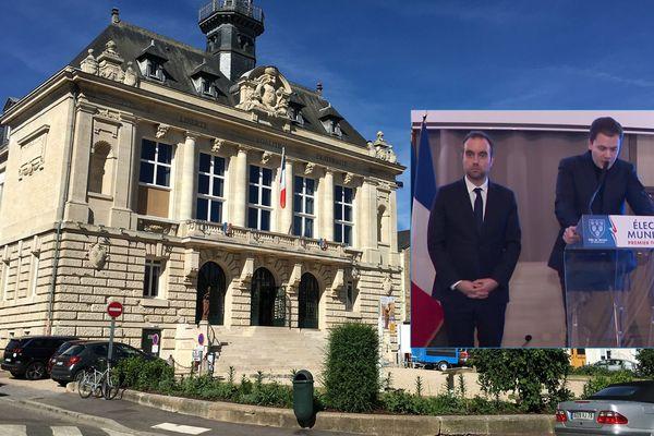 La mairie de Vernon et en médaillon : Sébastien Lecornu et François Ouzilleau