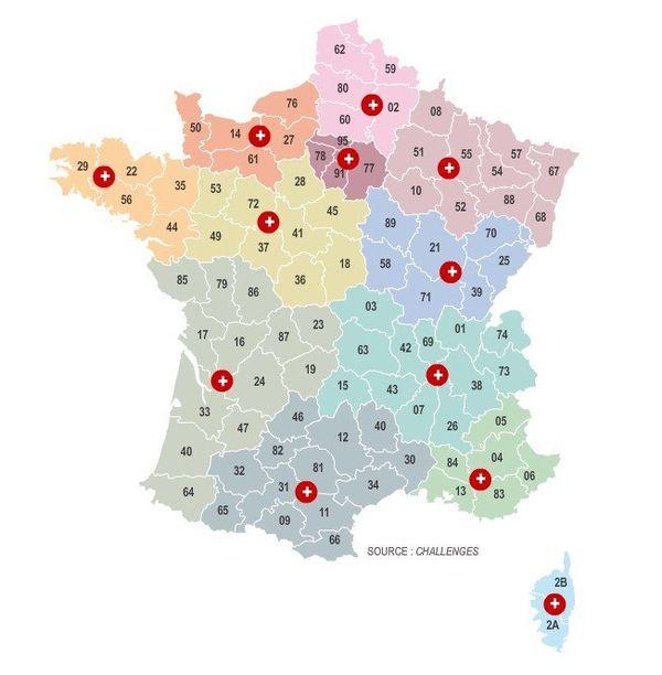 Le découpage depossible de la France selon Challenges