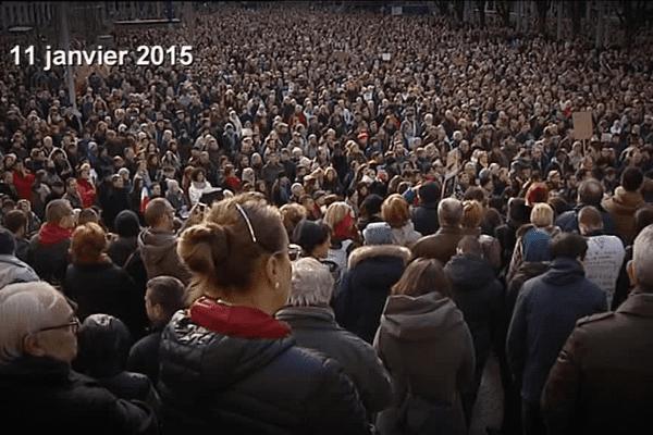 Marée humaine dans les rues le 11 janvier 2015 -archives