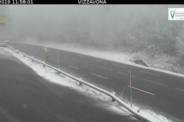 Capture d'écran du col de Vizzavona, lundi 21 janvier 2019.