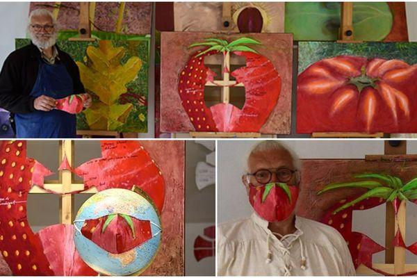 """""""Déconfiture, Masque Fruit Fraise"""" est la première installation d'une longue série. Jean-Marc a peint des fruits """"pleins de sensualité et de courbes"""". Fabienne découpe des masques à l'intérieur... en pleine crise du coronavirus."""