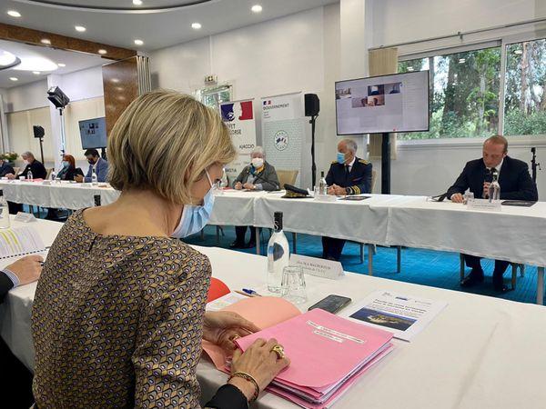 """Marie-Antoinette Maupertuis, présidente de l'agence du tourisme de la Corse lors de la présentation de la """"feuille de route territoriale du tourisme corse"""", mardi 27 avril, à Ajaccio."""