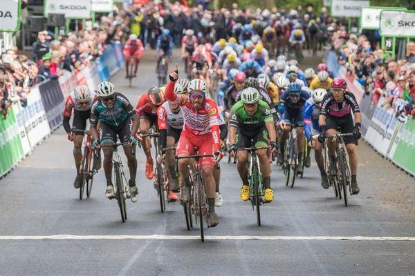 L'arrivée de manuel Belleti sur la première étape du Tour de Bretagne