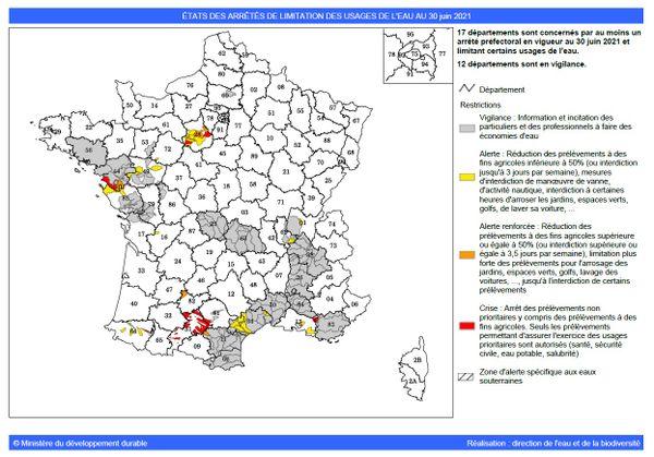 Les Pyrénées-Orientales, l'Aude, l'Hérault et le Gard sont placés en vigilance sécheresse - 30.06.21