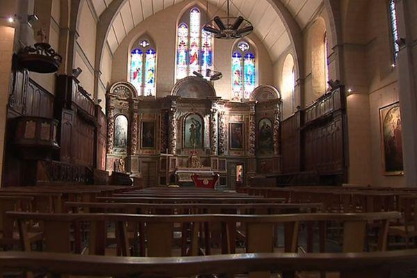 La nef de l'église Saint-Jean, à Tarbes (65) victime de dégradations mercredi après-midi.