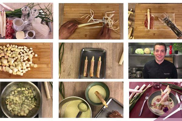 Les étapes de la recette du croustillant d'asperge et son velouté