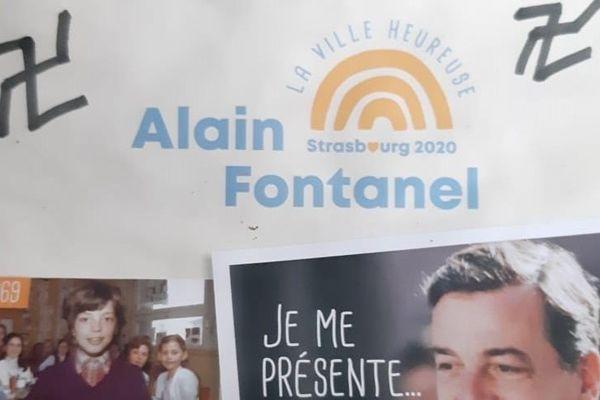 Alain Fontanel a retrouvé chez lui l'un de ses tracts de campagne, souillé de croix gammées nazies.