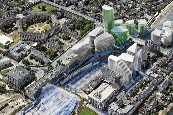 La future tour se dressera au cœur du quartier EuroRennes autour de la gare TGV