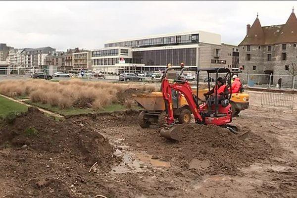Décembre 2018 : on retire  la terre au dessus du parking souterrain de la plage de Dieppe