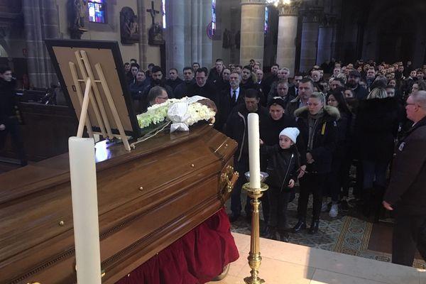 """Obsèques de Nicolas """"Niki"""" Lorier en l'église églises St-Rémy à Forbach (Moselle), le 08 février 2019."""