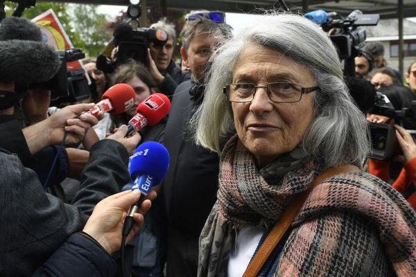 Catherine Blein, conseillère régionale Front national au conseil régional de Bretagne, lors d'une visite de Marine Le Pen à Dol de Bretagne (35) le 4 mai 2017