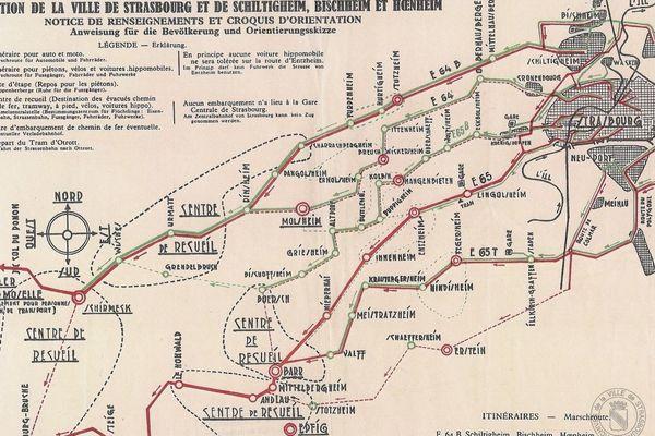 Un plan d'évacuation de Strasbourg et des villes aux alentours datant de 1939.