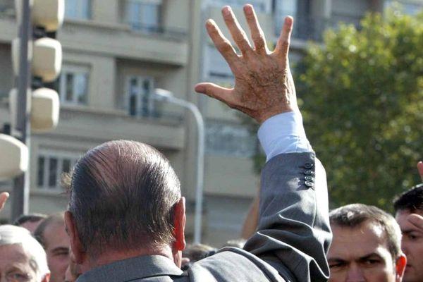 Jacques Chirac lors d'une visite à Lyon le 20 octobre 2005