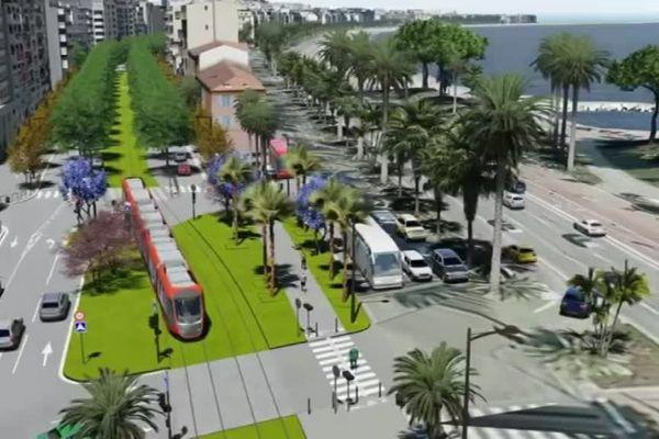 La ligne 2 du tramway au niveau de Ferber, on peut voir la promenade des Anglais.
