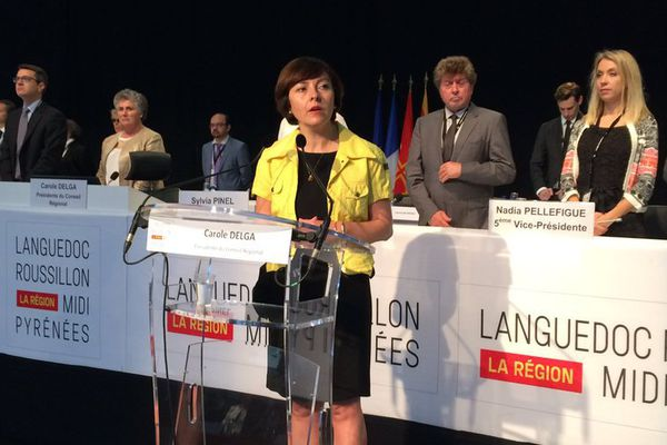 Carole Delga pendant la réunion à Montpellier