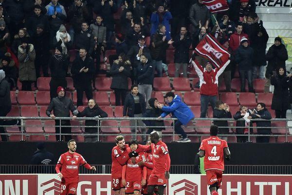 Les joueurs de Dijon à domicile contre Troyes, le 18 novembre 2017