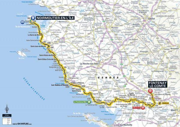 La carte de la 1ère étape du Tour 2018