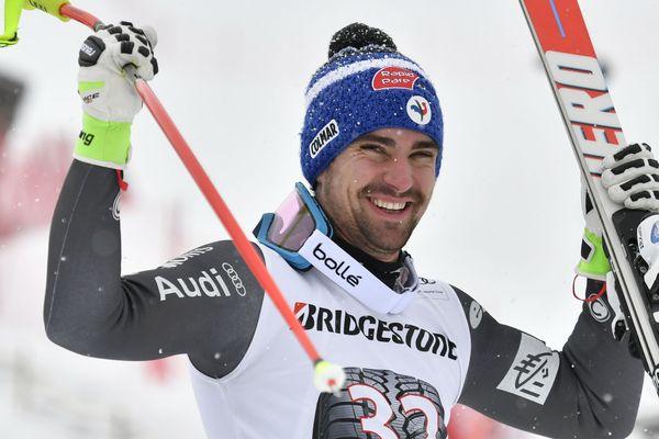 Maxence Muzaton, à la Coupe du monde de ski alpin en Suisse, le 13 janvier 2017.
