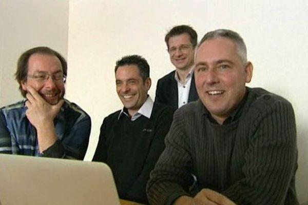 Les créateurs du groupe Publipresse : Olivier Chevalier, Eric Tournoux, Eric Cuenot et Jean-François Hauser