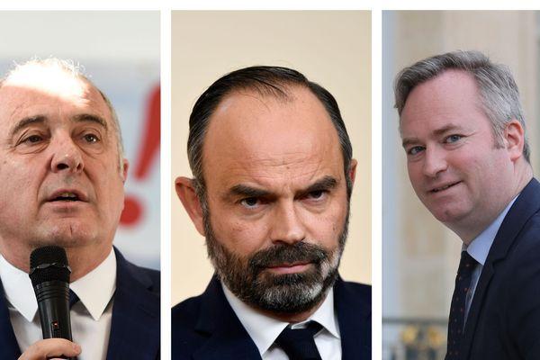Il y a un ministre de trop engagé dans la bataille des municipales à Biarritz fait savoir Edouard Philippe ce mercredi 15 janvier. Autour du Premier Ministre à gauche : Didier Guillaume, à droite JF Lemoyne