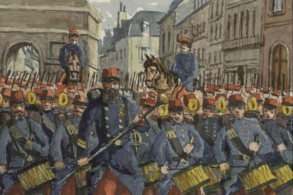 Les troupes défilent dans Dijon - place Darcy - Aquarelle extraite de l'un des Manuscrits du Lieutenant-Colonel Guillaume Cullard (Bibliothèque Patrimoniale et d'Etudes de la Ville de Dijon)