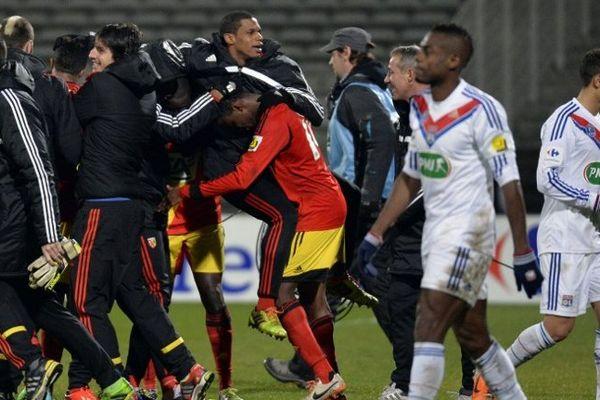 La joie des joueurs du RC Lens à Lyon.