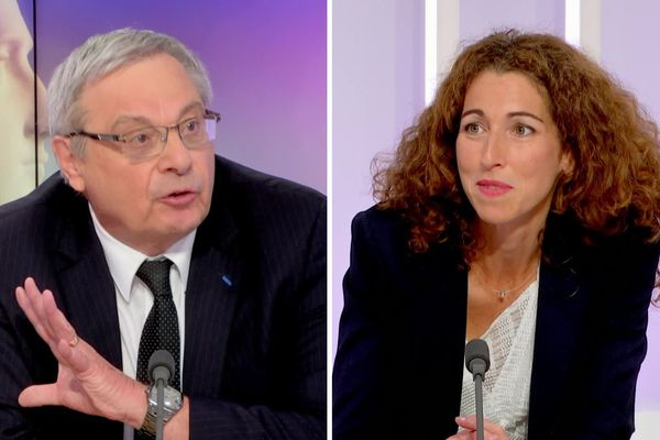 Patrice Dupray et Julie Lesage le 23 juin 2020 pour le débat du second tour des municipales à Grand-Couronne