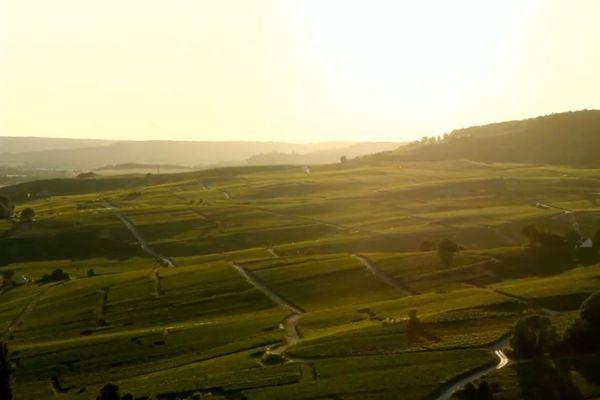 Coucher de soleil sur Epernay.