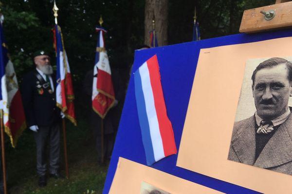 Le portrait de Georges Coran dévoilé lors de la cérémonie en hommage aux fusillés d'Idron
