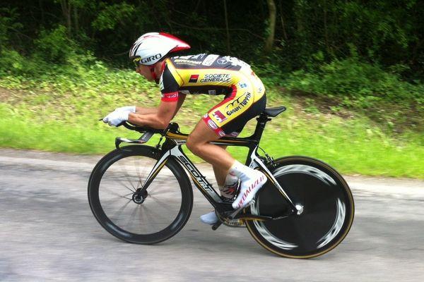 Evan Ferrand-Prévot lors du contre-la-montre (3ème étape) des Boucles de la Marne, le 25 mai 2013.