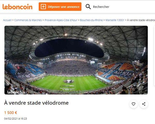 Des annonces plus ou moins élevées à débattre ... l'humour des marseillais concernant l'OM et la vente du stade Vélodrome annoncée par le maire de Marseille.