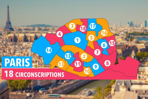 Les 18 circonscriptions de Paris.