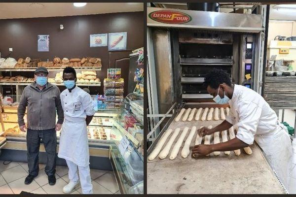 Maya Magassouba en compagne de son maître d'apprentissage Salem Khalfat à la boulangerie.
