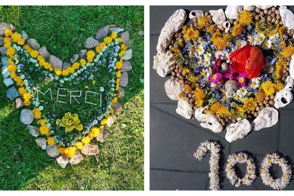Exemples de création en Land'art des élèves de l'école primaire de Fréteval dans le Loir-et-Cher