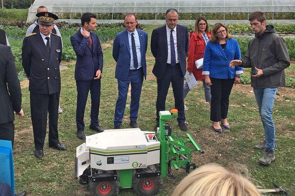 Didier Guillaume, ministre de l'Agriculture et de l'Alimentation en visite au lycée agricole d'Yvetot (Seine-Maritime)