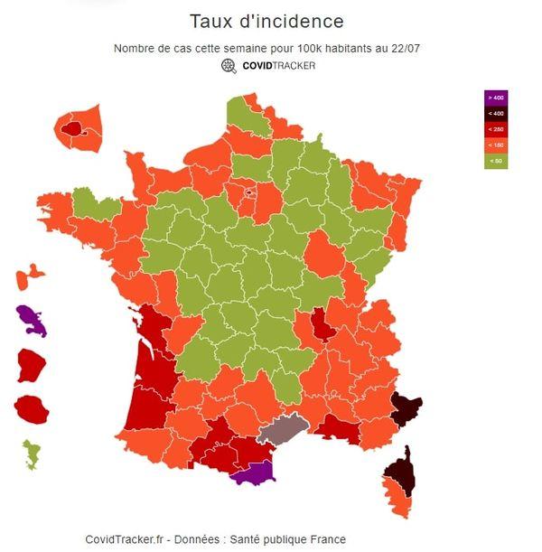 Le taux d'incidence en France, le 22 juillet 2021.