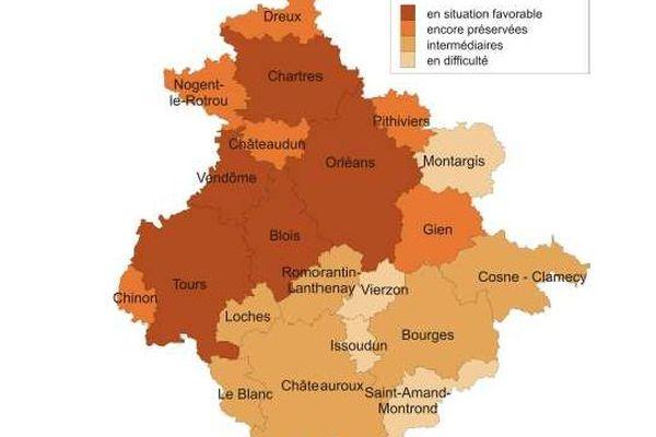 Zones d'emploi en région Centre
