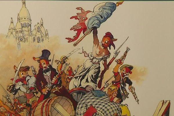 """Les résistants étaient représentés en lapin anthropomorphes dans """"La bête est morte !"""", oeuvre du dessinateur français Calvo"""