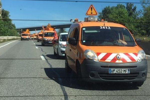 Les agents de la DirMed ont organisé une opération escargot ce mardi 14 mai, sur l'autoroute A7, en direction de Marseille