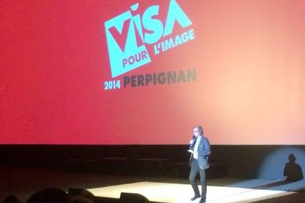 Jean-François Leroy sur scène à Perpignan le 2 septembre 2014