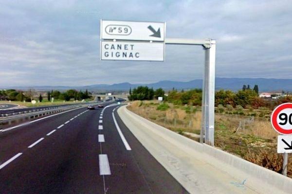 A.750 - sortie d'autoroute de Gignac (Hérault) - archives
