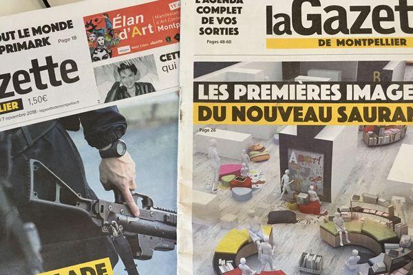 La Une de la Gazette de Montpellier. A gauche c'était avant. A droite, c'est maintenant!