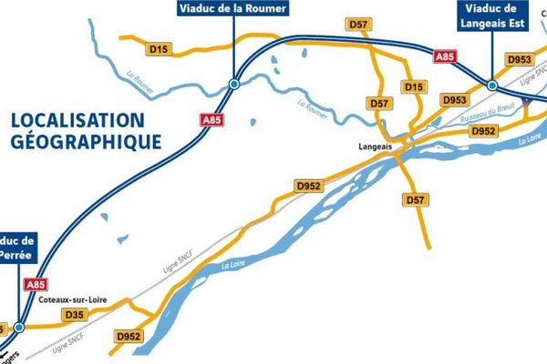 Plan des 3 viaducs sur l'A85 en Indre-et-Loire