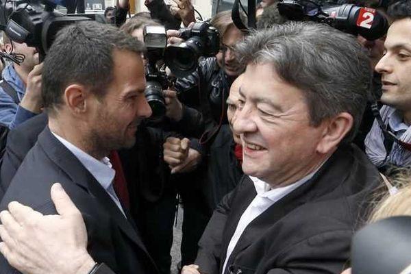 Jérôme Kerviel et Jean-Luc Mélenchon, en juillet 2013.