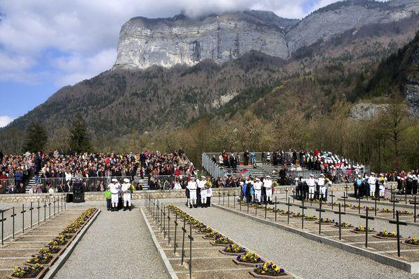 La nécropole nationale des Glières lors du 70e anniversaire des Glières, le 6 avril 2014.