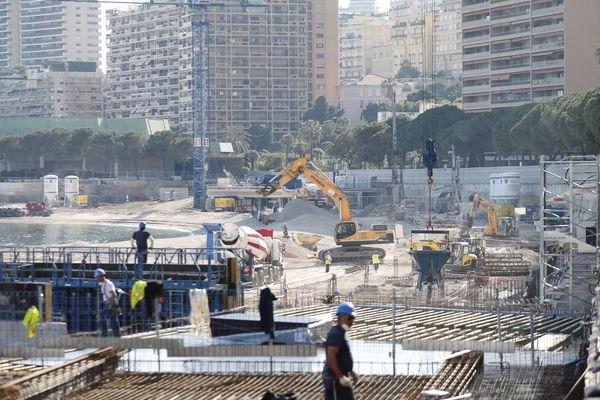 Le chantier du Larvotto à Monaco en avril 2020.
