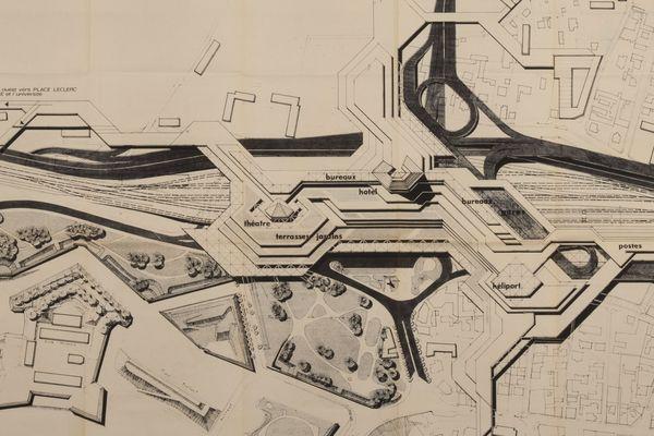 Un centre directionnel à la gare Viotte ? C'était l'idée du cabinet d'urbanisme de la ville de Besançon en 1969.
