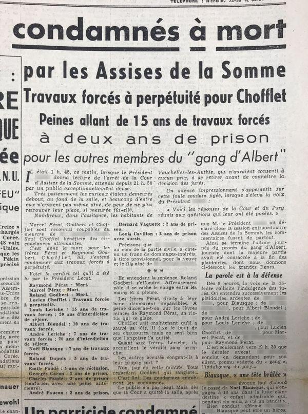 Verdict du procès des membres du gang d'Albert aux assises de la Somme, en Une du Courrier picard du 13/12/1950