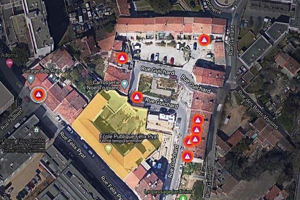 Carte des travaux de démolition et désamiantage autour de l'école Félix Pyat à Marseille. Quelques mètres seulement entre le chantier et l'école.